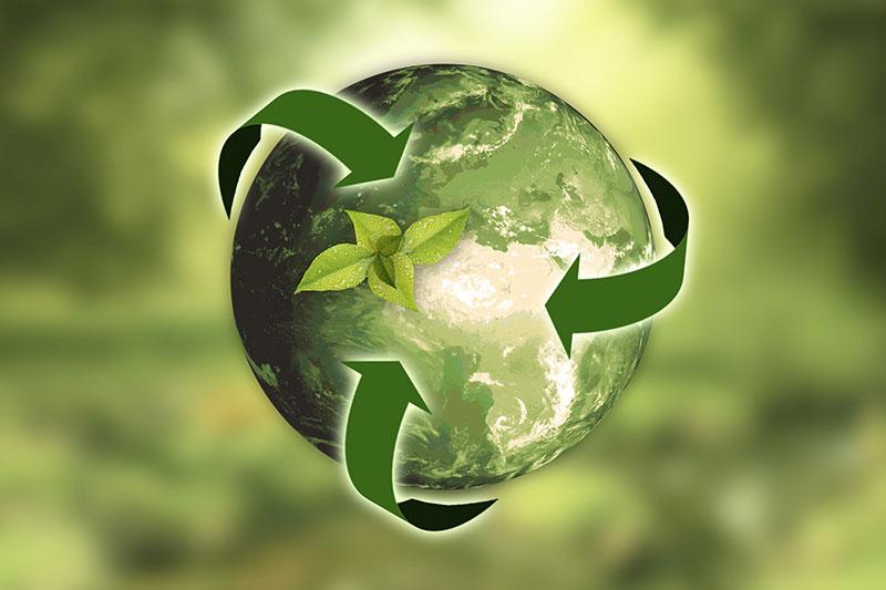 Il pianeta verde rappresenta una corretta gestione dei rifiuti per la tutela dell'ambiente.